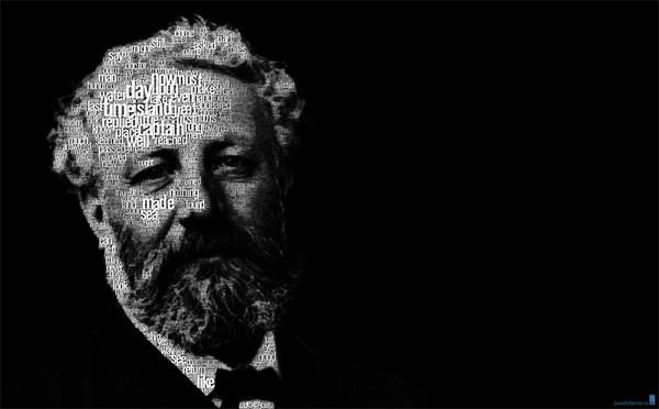 Jules Verne - text portrait by Juan Osborne.